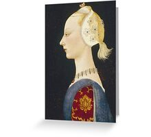 Paolo Uccello - A Young Lady Of Fashion. Woman portrait: sensual woman,  brocade, costume, courtier, beautiful dress,  lady, madame,  Mirror, love, sexy lady, Accessories Greeting Card