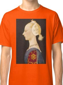 Paolo Uccello - A Young Lady Of Fashion. Woman portrait: sensual woman,  brocade, costume, courtier, beautiful dress,  lady, madame,  Mirror, love, sexy lady, Accessories Classic T-Shirt