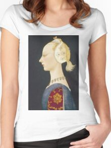 Paolo Uccello - A Young Lady Of Fashion. Woman portrait: sensual woman,  brocade, costume, courtier, beautiful dress,  lady, madame,  Mirror, love, sexy lady, Accessories Women's Fitted Scoop T-Shirt