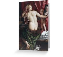 Paolo Veronese - Venus With A Mirror. Woman portrait: sensual woman, nude, beautiful dress,  Mirror, Accessories, Venus,  lady, madame, love, sexy lady, erotic pose Greeting Card