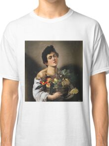 Michelangelo Merisi Da Caravaggio - Boy With Basket Of Fruit. Man portrait: Young man, curly head, male, secular,  young, masculine, boyfriend, smile, still life , sexy men,  fruits Classic T-Shirt