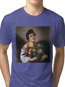 Michelangelo Merisi Da Caravaggio - Boy With Basket Of Fruit. Man portrait: Young man, curly head, male, secular,  young, masculine, boyfriend, smile, still life , sexy men,  fruits Tri-blend T-Shirt
