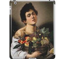 Michelangelo Merisi Da Caravaggio - Boy With Basket Of Fruit. Man portrait: Young man, curly head, male, secular,  young, masculine, boyfriend, smile, still life , sexy men,  fruits iPad Case/Skin