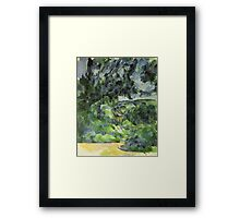 Paul Cezanne - Blue Landscape. Garden landscape: garden view, trees and flowers, blossom, nature, botanical park, floral flora, wonderful flowers, plants, cute plant, garden, flower Framed Print
