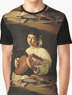 Michelangelo Merisi Da Caravaggio - The Lute Player. Man portrait: Young man, curly head, young, secular,  lute, player, musician,  music,  violin, sexy men, Roses  Graphic T-Shirt