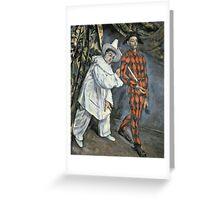 Paul Cezanne - Pierrot And Harlequin. Man portrait:  circus, clown, clowns, costume, harlequin, Pierrot, boyfriend, smile, funnyman, sexy men, ruff Greeting Card