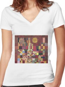 Paul Klee - Castle And Sun. Abstract painting: abstract art, geometric, Castle , composition, lines, forms, Sun, spot, shape, illusion, fantasy future Women's Fitted V-Neck T-Shirt