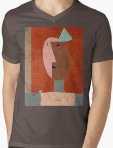 Paul Klee - Clown. Abstract painting: abstract art, geometric, expressionism, composition, lines, forms, creative fusion, spot, shape, illusion, fantasy future Mens V-Neck T-Shirt