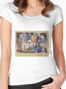 Paul Klee - Concentrierter Roman. Abstract painting: abstract art, geometric, Magic , composition, woman, man, people, spot, shape, illusion, fantasy future Women's Fitted Scoop T-Shirt