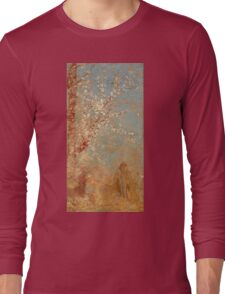 Odilon Redon - Figure Under A Blossoming Tree 1904. Garden landscape: garden view, trees and flowers, blossom, woman, dream, floral flora, wonderful flowers, think, meditation, relaxation, rest Long Sleeve T-Shirt
