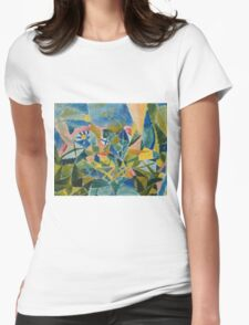 Paul Klee - Flower Bed. Abstract painting: abstract art, geometric, Flower,  Bed, lines, forms, creative fusion, spot, shape, illusion, fantasy future Womens Fitted T-Shirt