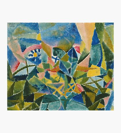 Paul Klee - Flower Bed. Abstract painting: abstract art, geometric, Flower,  Bed, lines, forms, creative fusion, spot, shape, illusion, fantasy future Photographic Print