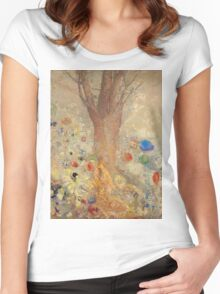 Odilon Redon - The Buddha 1904. Garden landscape: garden, trees and flowers, blossom, nature, Buddha , buddhism, meditating, think, meditation, relaxation, rest Women's Fitted Scoop T-Shirt