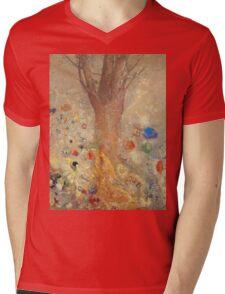 Odilon Redon - The Buddha 1904. Garden landscape: garden, trees and flowers, blossom, nature, Buddha , buddhism, meditating, think, meditation, relaxation, rest Mens V-Neck T-Shirt
