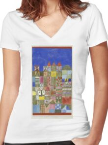 Paul Klee - Marjamshausen, 1928. Abstract painting: abstract art, geometric,  building, house, lines, forms, creative fusion, spot, shape, illusion, fantasy future Women's Fitted V-Neck T-Shirt
