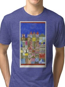 Paul Klee - Marjamshausen, 1928. Abstract painting: abstract art, geometric,  building, house, lines, forms, creative fusion, spot, shape, illusion, fantasy future Tri-blend T-Shirt