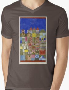 Paul Klee - Marjamshausen, 1928. Abstract painting: abstract art, geometric,  building, house, lines, forms, creative fusion, spot, shape, illusion, fantasy future Mens V-Neck T-Shirt