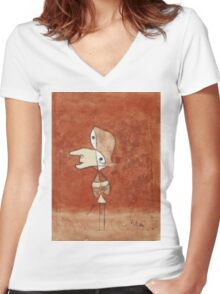 Paul Klee - Portrait Of Brigitte. Abstract painting: abstract art, geometric, bird, woman, lines, forms,  Figure, spot, shape, illusion, fantasy future Women's Fitted V-Neck T-Shirt