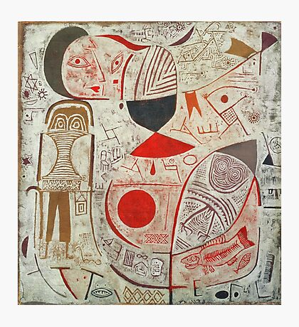 Paul Klee - Printed Sheet With Picture. Abstract painting: abstract art, geometric, woman, composition, lines, forms, creative fusion, spot, shape, illusion, fantasy future Photographic Print