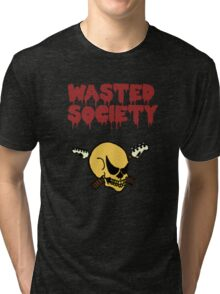 Wasted Society Skull (in color) Tri-blend T-Shirt