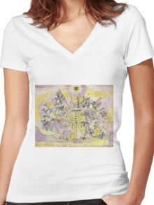 Paul Klee - The Unlucky Ships. Abstract painting: abstract art, Ships, star, composition, lines, forms, geometric, spot, shape, illusion, fantasy future Women's Fitted V-Neck T-Shirt
