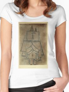 Paul Klee - Torwachterstolz. Abstract painting: abstract art, geometric,  Man , composition, lines, forms, creative fusion, spot, shape, illusion, fantasy future Women's Fitted Scoop T-Shirt