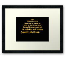 Clutch - Star Wars text crawl shirt Framed Print