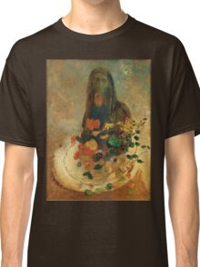 Odilon Redon - Mystery 1910. Garden landscape: garden view, trees and flowers, blossom, nature, woman, Mystery, wonderful flowers, dream, think, garden, flower Classic T-Shirt