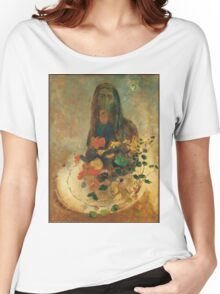 Odilon Redon - Mystery 1910. Garden landscape: garden view, trees and flowers, blossom, nature, woman, Mystery, wonderful flowers, dream, think, garden, flower Women's Relaxed Fit T-Shirt