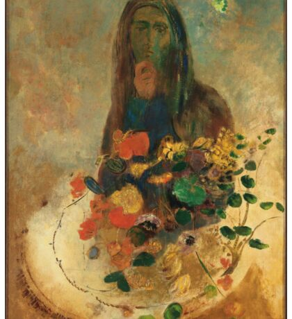 Odilon Redon - Mystery 1910. Garden landscape: garden view, trees and flowers, blossom, nature, woman, Mystery, wonderful flowers, dream, think, garden, flower Sticker