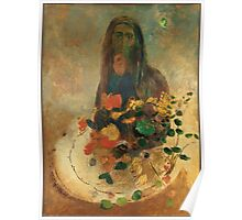 Odilon Redon - Mystery 1910. Garden landscape: garden view, trees and flowers, blossom, nature, woman, Mystery, wonderful flowers, dream, think, garden, flower Poster