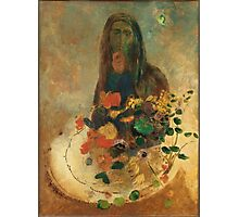 Odilon Redon - Mystery 1910. Garden landscape: garden view, trees and flowers, blossom, nature, woman, Mystery, wonderful flowers, dream, think, garden, flower Photographic Print