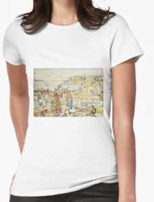 Maurice Brazil Prendergast - Bathers And Strollers At Marblehead. Beach landscape: sea view, yachts, holiday, sailing boat, beach, marine, family seascape, sun, nautical panorama, coastal travel Womens Fitted T-Shirt