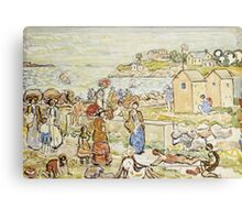 Maurice Brazil Prendergast - Bathers And Strollers At Marblehead. Beach landscape: sea view, yachts, holiday, sailing boat, beach, marine, family seascape, sun, nautical panorama, coastal travel Canvas Print