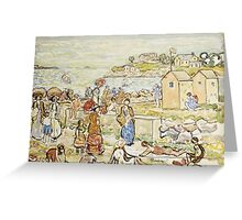 Maurice Brazil Prendergast - Bathers And Strollers At Marblehead. Beach landscape: sea view, yachts, holiday, sailing boat, beach, marine, family seascape, sun, nautical panorama, coastal travel Greeting Card
