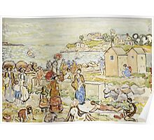 Maurice Brazil Prendergast - Bathers And Strollers At Marblehead. Beach landscape: sea view, yachts, holiday, sailing boat, beach, marine, family seascape, sun, nautical panorama, coastal travel Poster