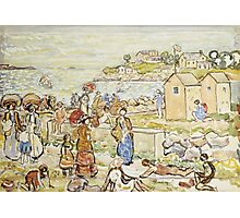 Maurice Brazil Prendergast - Bathers And Strollers At Marblehead. Beach landscape: sea view, yachts, holiday, sailing boat, beach, marine, family seascape, sun, nautical panorama, coastal travel Photographic Print