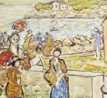 Maurice Brazil Prendergast - Bathers And Strollers At Marblehead. Beach landscape: sea view, yachts, holiday, sailing boat, beach, marine, family seascape, sun, nautical panorama, coastal travel Sticker