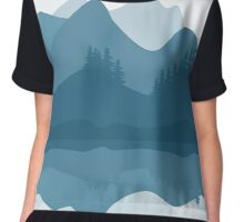 forest in the mountains,vector illustration Chiffon Top