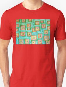 Multicolored Squares on Green Pattern Unisex T-Shirt