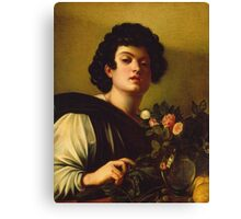 Michelangelo Merisi Da Caravaggio - Boy With A Carafe Of Roses . Man portrait: Young man, curly head, male, secular,  young, masculine, boyfriend, smile, still life , sexy men, Roses  Canvas Print