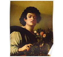 Michelangelo Merisi Da Caravaggio - Boy With A Carafe Of Roses . Man portrait: Young man, curly head, male, secular,  young, masculine, boyfriend, smile, still life , sexy men, Roses  Poster