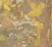 Odilon Redon - Trees On A Yellow Background 1901. Garden landscape: garden view, trees and flowers, blossom, nature, botanical park, floral flora, wonderful flowers, plants, cute plant, garden, flower Sticker