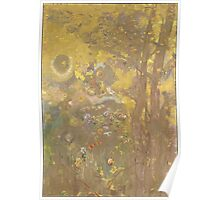 Odilon Redon - Trees On A Yellow Background 1901. Garden landscape: garden view, trees and flowers, blossom, nature, botanical park, floral flora, wonderful flowers, plants, cute plant, garden, flower Poster