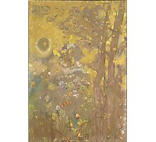 Odilon Redon - Trees On A Yellow Background 1901. Garden landscape: garden view, trees and flowers, blossom, nature, botanical park, floral flora, wonderful flowers, plants, cute plant, garden, flower Photographic Print