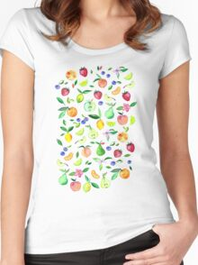 Fresh Fruit - a watercolor pattern Women's Fitted Scoop T-Shirt