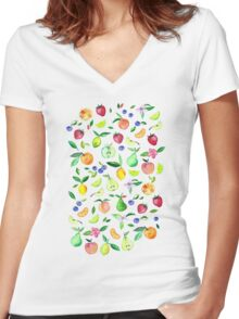 Fresh Fruit - a watercolor pattern Women's Fitted V-Neck T-Shirt