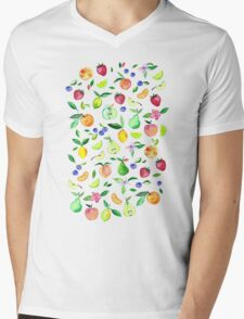 Fresh Fruit - a watercolor pattern Mens V-Neck T-Shirt