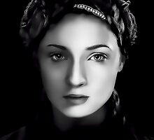Sophie Turner as Sansa Stark in Game of Thrones Digital Art Portrait by David Alexander Elder