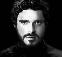 Richard Madden as Robb Stark in Game of Thrones Digital Art Portrait by David Alexander Elder